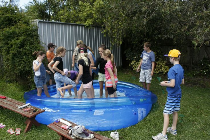 The Man Vs. Wild Party - The Catch your own food challenge. Bought some Robo Fish, rubber duckies and other large insects. Each team had once person fish with a net blind-folded. The kids had more fun falling the water!