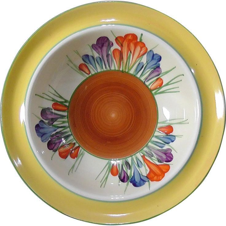 Clarice Cliff 'Crocus' Hand Painted 'Bizarre' Dessert Bowl. Early 1930's