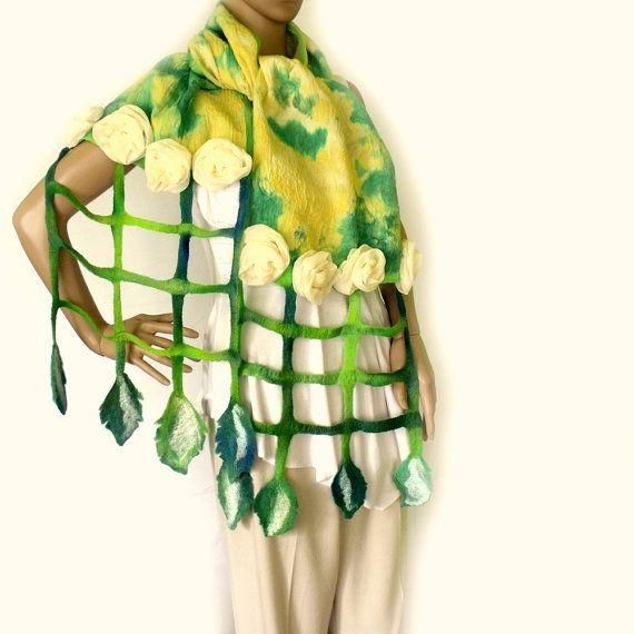Nuno Feltro sciarpa. Seta 3D fiori di chiffon e di allmadewithlove