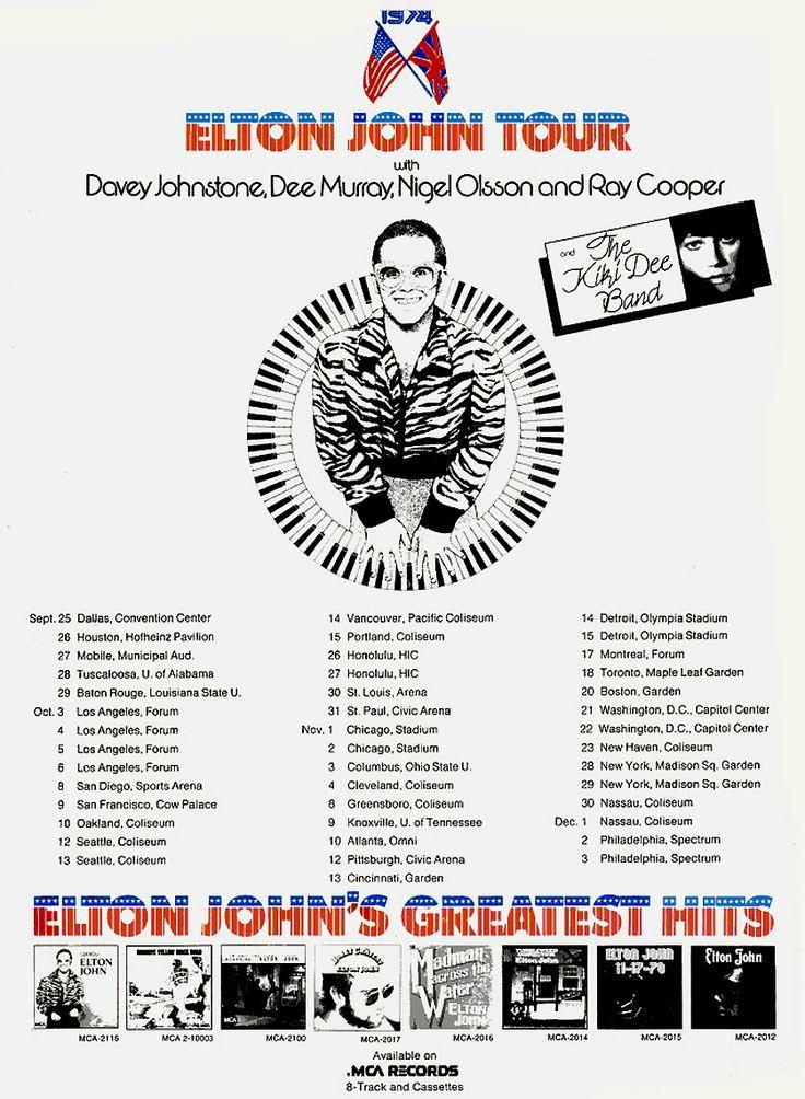 Elton John On Tour Poster 1974 Elton John 70 S