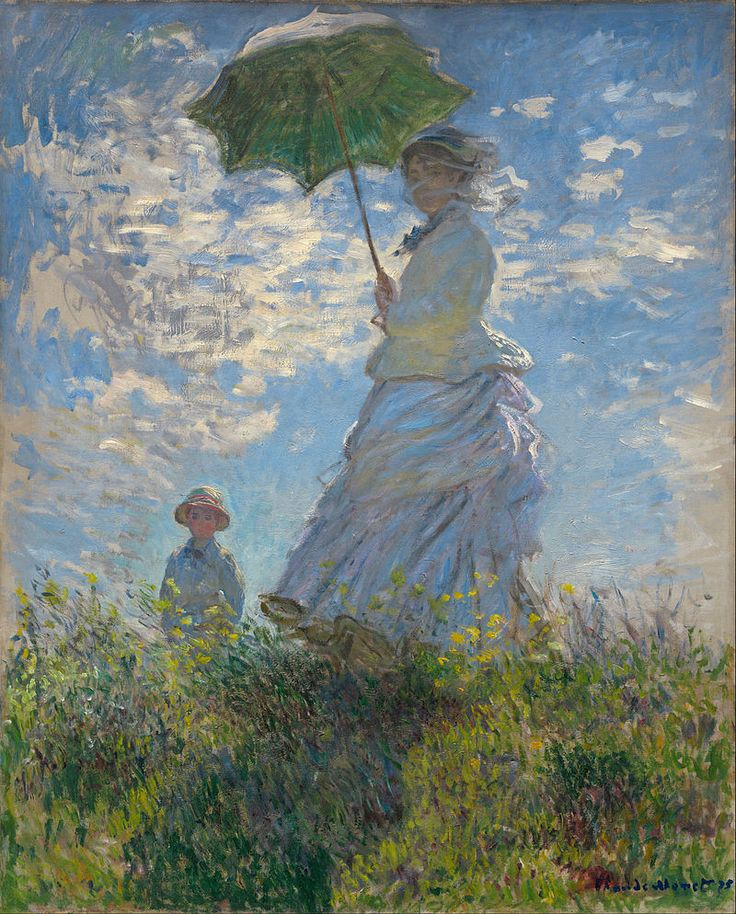 """Claude Monet, """"Woman with a Parasol - Madame Monet and Her Son (Camille and Jean Monet)"""", 1875, National Gallery of Art, Washington, D.C."""