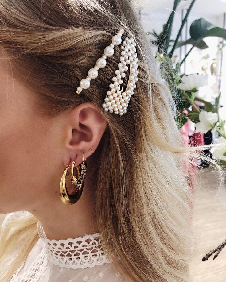 Perle Hair Clips Hair Clips Gold Vintage Metal Snap Hair Clips On Braut Hair In 2020 Hair Accessories Hair Pins Hair Clips Girls