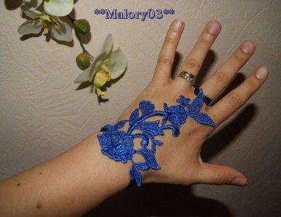 Mitaine mariage bleu Malory03 model 1 : Mitaines, gants par malory03