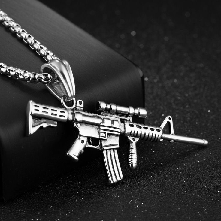 316L Stainless Steel Men Silver Gold Black Gun Pendant Titanium Steel Charm Necklace at Banggood