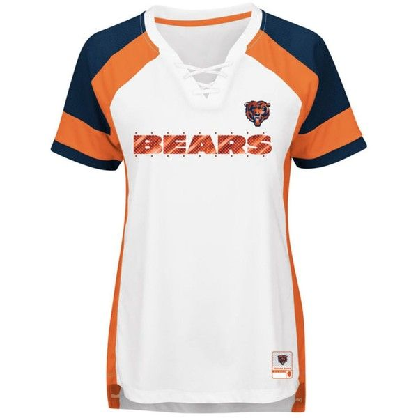 Majestic Women's Chicago Bears Draft Me T-Shirt ($55) ❤ liked on Polyvore featuring tops, t-shirts, white, white v neck t shirt, nfl football jerseys, nfl shirts, tee-shirt and football jerseys