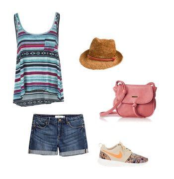 A:  Bluzka Billabong  Szorty H&M  Buty Nike  Torebka, kapelusz Roxy