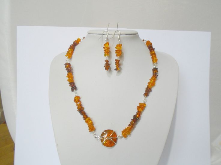 Raw Amber Necklace, Natural Baltic Amber Necklace and Earrings, Amber Jewelry, Amber Earrings, Beaded Baltic Amber Necklace, Gift for Her by K8tieSparkles on Etsy