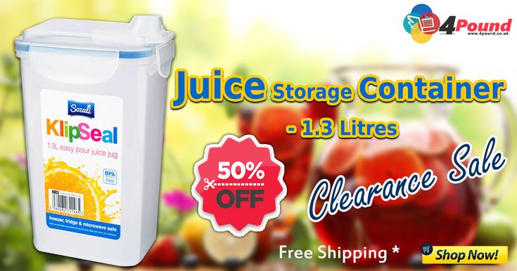 Buy Juice Storage Container - 1.3 Liters for 50% OFF Grand sale.  Product Description : 1.3 Ltr easy pour Storage Container. White Colour Storage Container. 100% air tight food grade container. No smell, tough, waterproof & airtight. Freezer Fridge & Microwave safe. Order now : http://www.4pound.co.uk/1.3l-juice-container