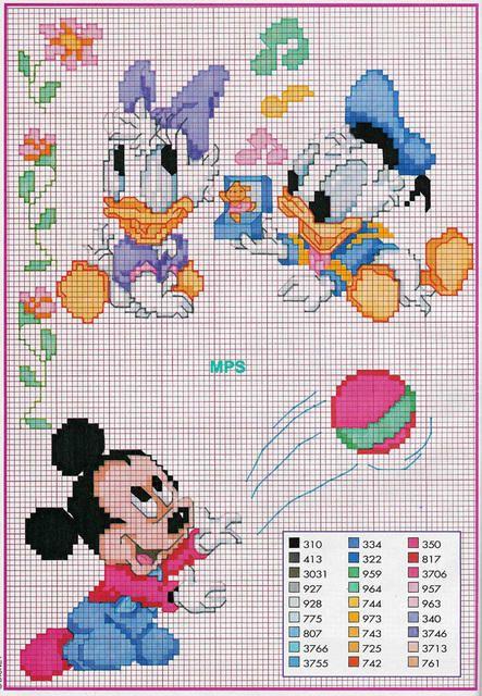 Disney Bébé Mickey Mouse Donald Duck Daisy Point De Croix Pour