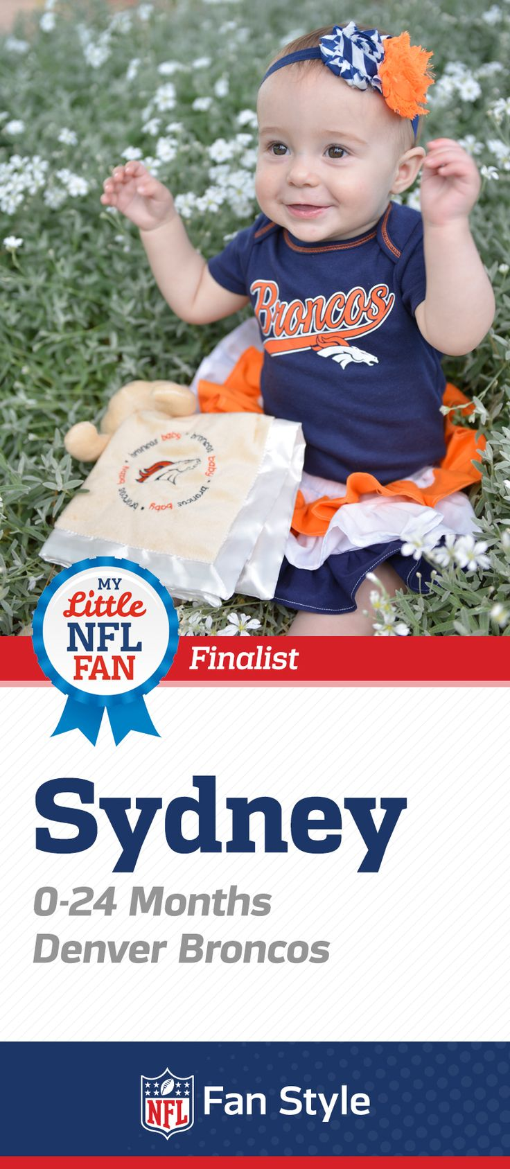 Is Sydney putting her arms up to celebrate a Denver Broncos score? She's one little fan who already knows all the signs. Click here to vote for her!