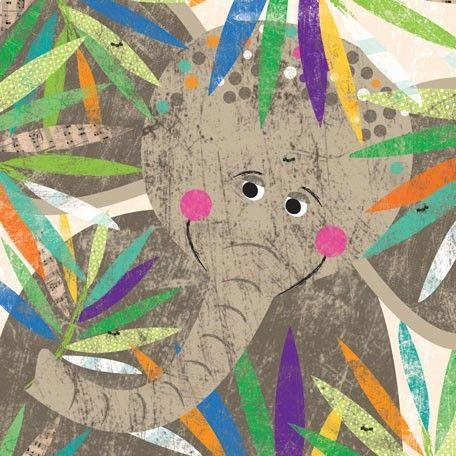 """""""Peeking Jungle Buddies - Elephant"""" kids wall art by Liza Lewis for Oopsy daisy, Fine Art for Kids $69"""