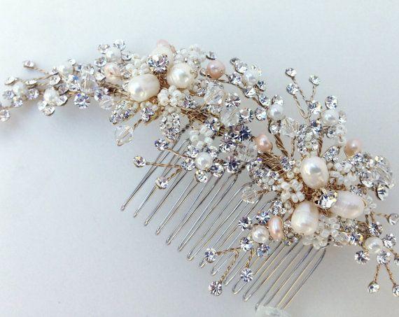 Cristal y perla nupcial peine peine del pelo de novia marfil