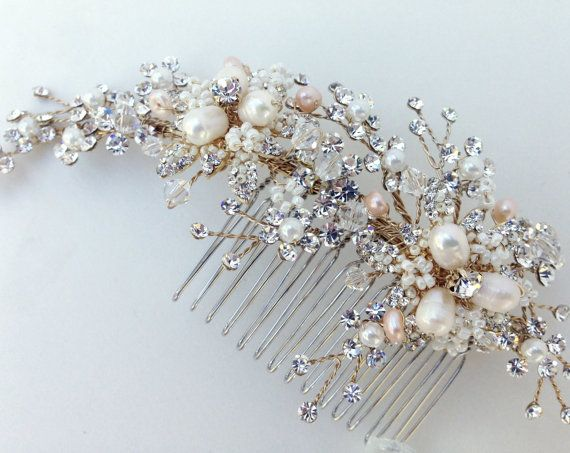 Crystal and Pearl Bridal Hair Comb Wedding Hair by AGoddessDivine