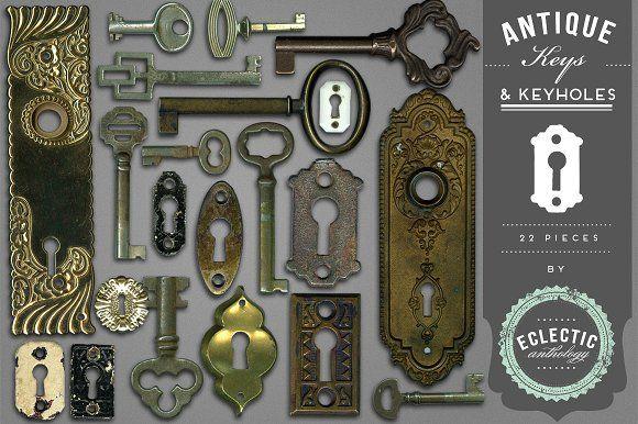 Antique Keys and Keyholes Graphics @creativework247