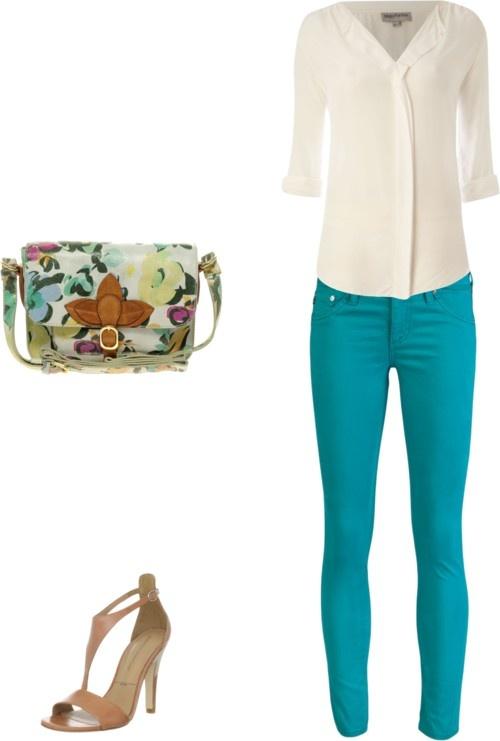 Aqua jeans + floral purse, white blouse + heeled sandals...