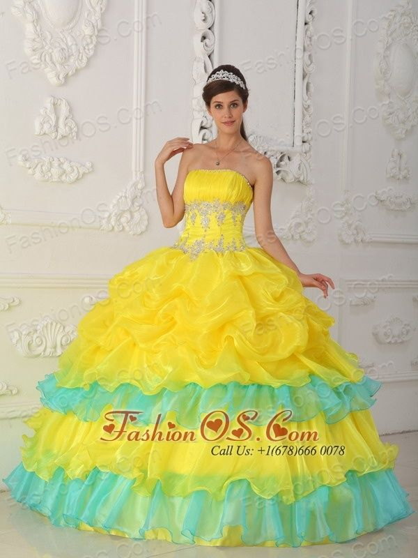 Used yellow quinceanera dress outlet