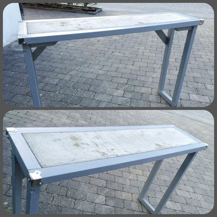 Homemade industrial console table . Concrete and wood