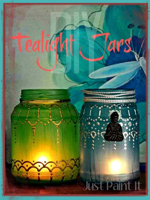 DIY Tealight Jars - paint a jar with glass paint then add dots of metallic paint to create a design, then drop in a tealight!