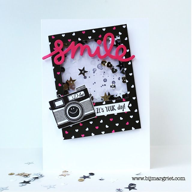Bij Margriet; Stampin' Up!, pun intended, pop of pink, confetti celebration, shakercard, schudkaart