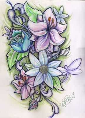 Vibrant Flowers Drawing