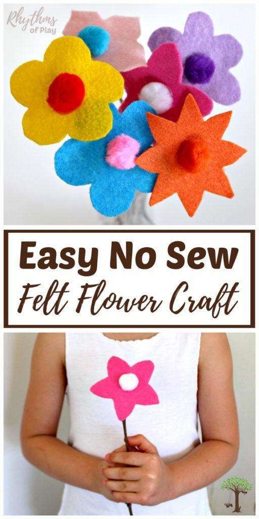 Easy Felt Flowers With Twig Stems No Sew