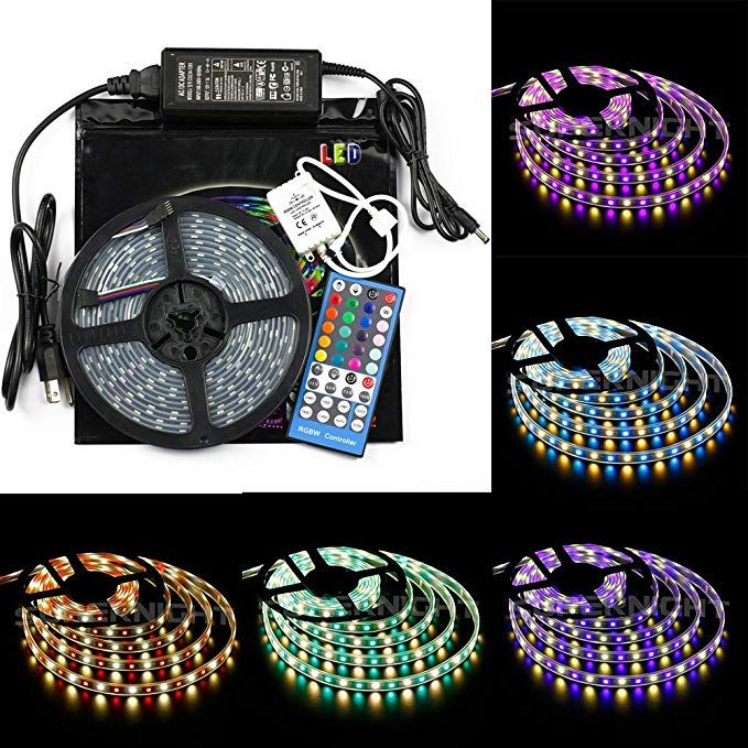 Bzone Rgb Warm White Led Strip Light Kit Mixed Color Changing Waterproof Flexible Rope Lights Rgbww 5m Smd5050 300leds With Wireless 44 Keys Music Ir Remote Con Led Strip Lighting Rope Lights