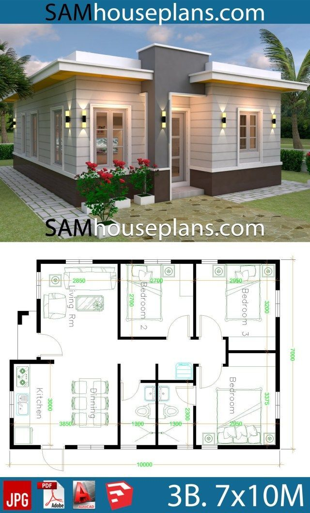 House Plans 7x10 With 3 Bedrooms With Terrace Roof House Construction Plan House Plan Gallery Model House Plan Home plans with simple roof lines