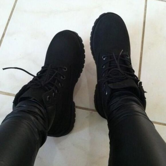 All black Timbs All black Timberland boots....6in ankle length & waterproof. I wore these once, they are not my size and I keep trying them on with outfits but it's just not my style so I never end up wearing them. They're so cute in the pic tho. I will add pics of the shoes I have soon! Timberland Shoes Lace Up Boots