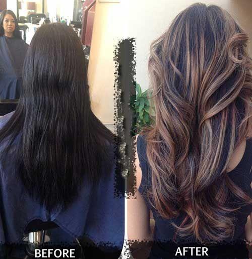 Ash Brown Highlighted Hair for Dark Hair