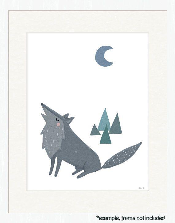 wolf nursery art. woodland creature theme. 8.5x11 art print for nursery, kids, baby, children. forest friends in gray, white, blue.