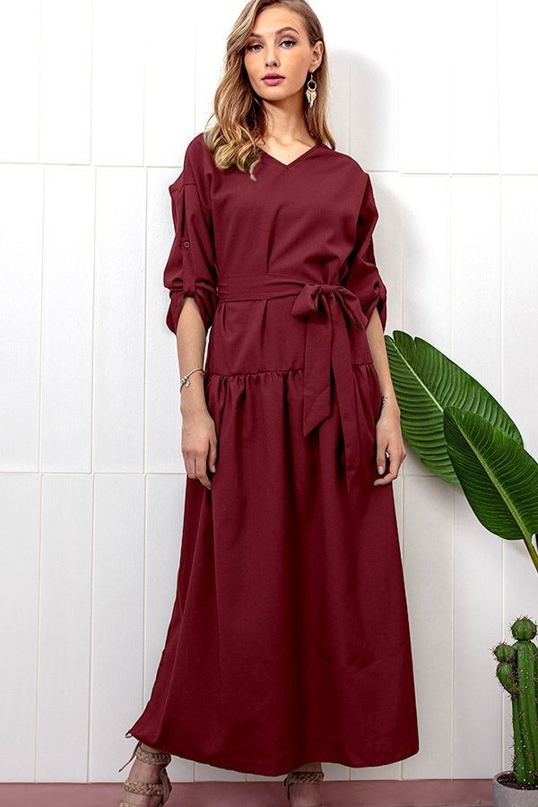 eb14c856490 Dark-red Long Sleeve Slit Tied Casual Maxi Dress  047199   Long Sleeve  Dresses