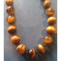 Vintage Collar Esferas Bolas Piedra Ojo De Tigre Oro 8 Mm
