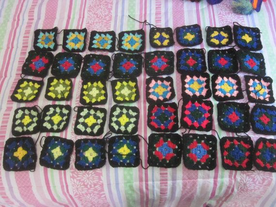 Ready Made Sets of CROCHET GRANNY SQUARES  by HandcraftedInHebron
