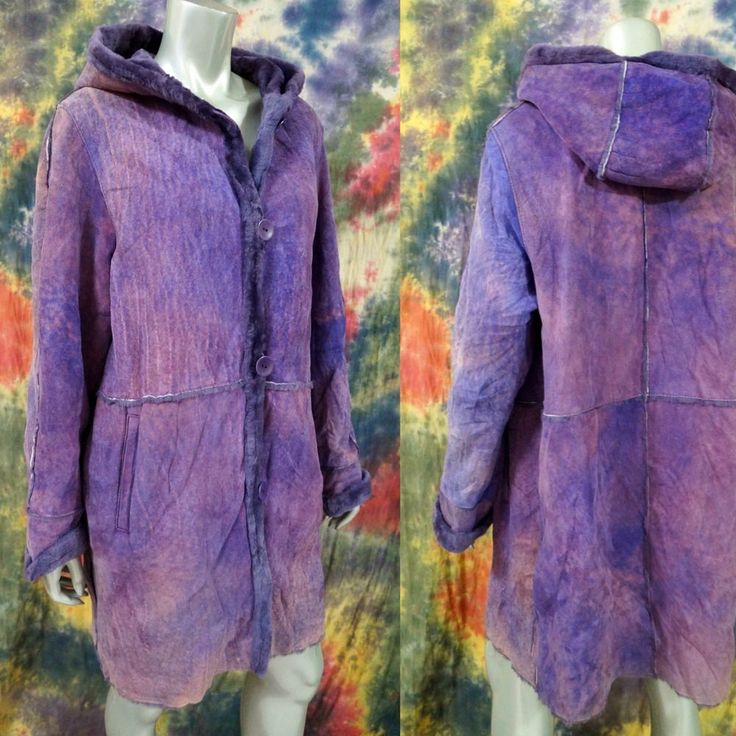 Blue Duck  Purple Tie Dye Look Hooded Sheepskin Shearling Lined Coat Jacket M  | eBay