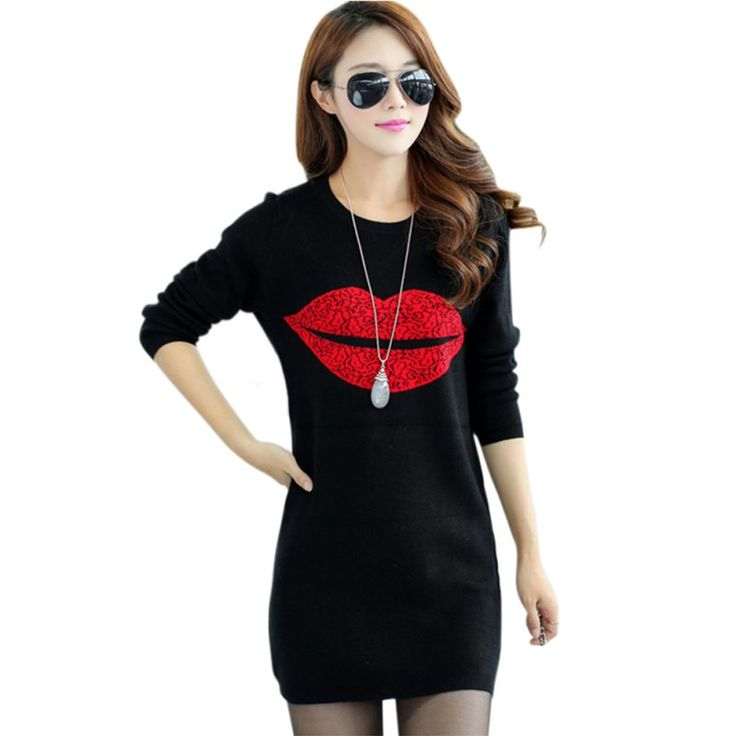 Fashion Women's Lip Print  Fall Winter Clothes Long Sleeve Elegant Shirts Long Style