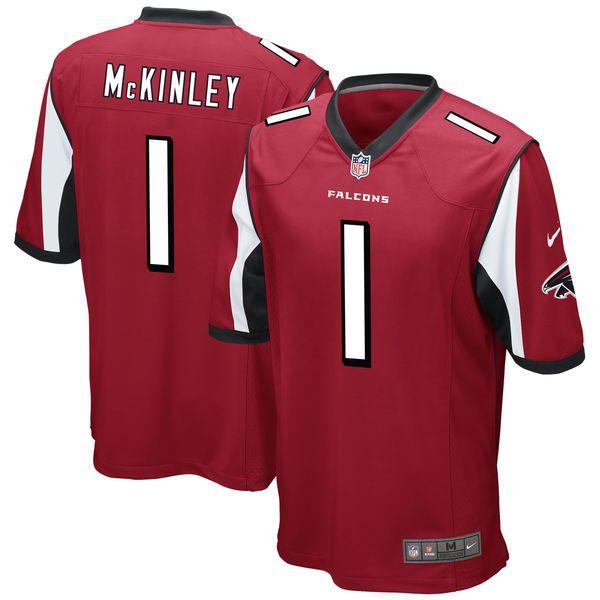 Men's Atlanta Falcons Takkarist McKinley Nike Red 2017 Draft Pick Game Jersey