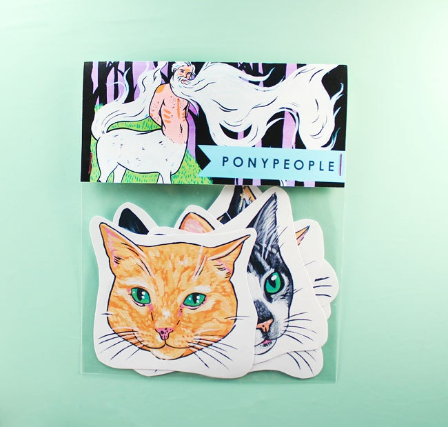 Set of 6 Cat Stickers
