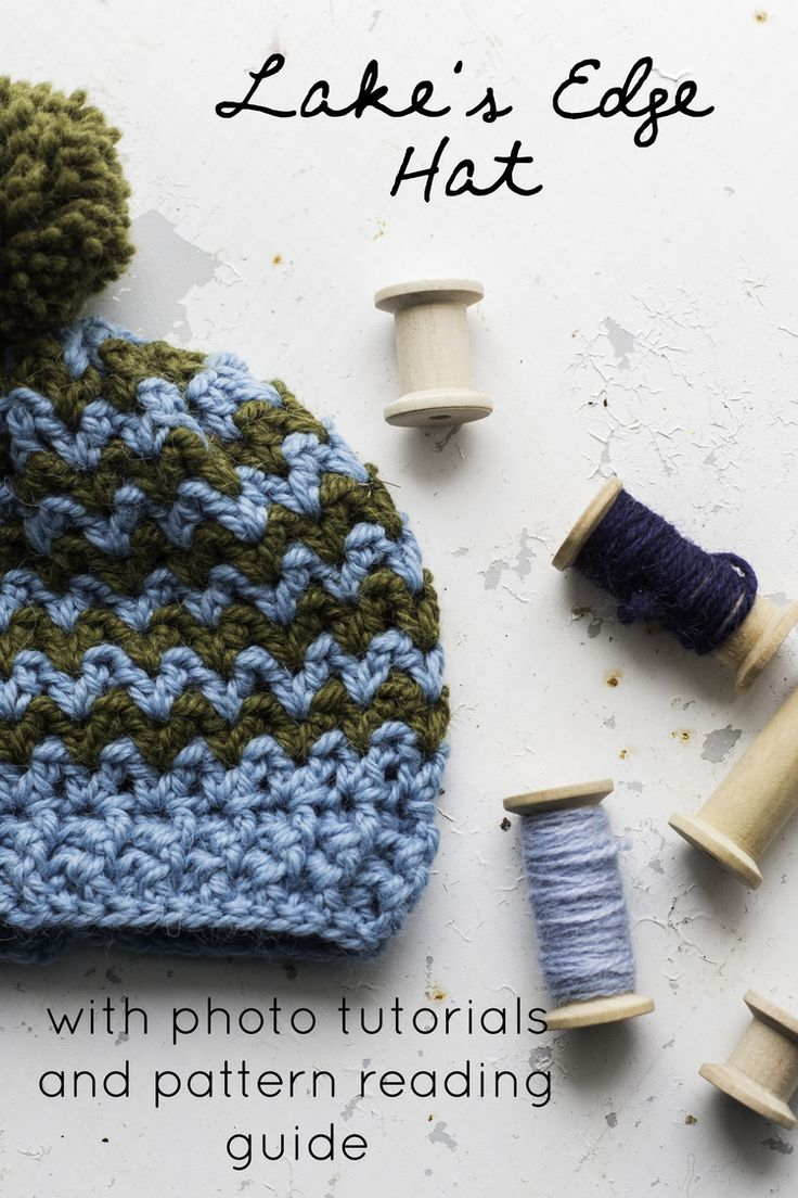 Lake's Edge Hat with photo tutorials and pattern reading guide.