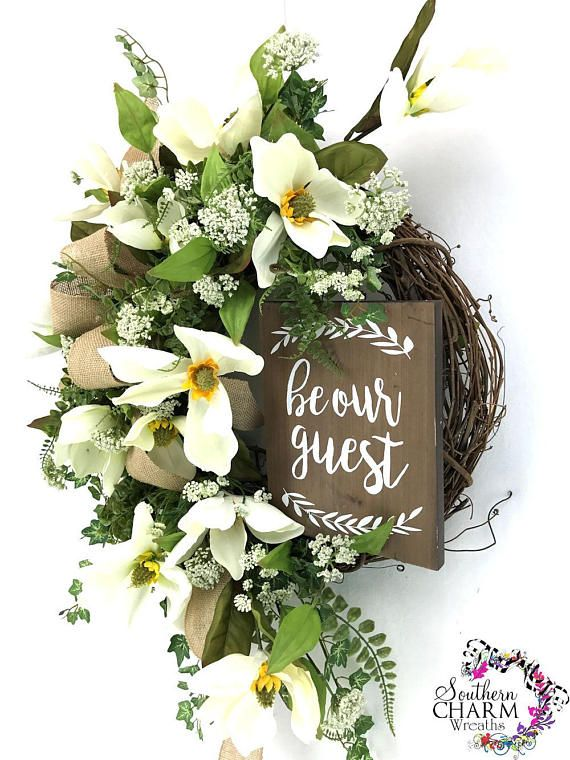 Magnolia Wreath For Front Door White Spring Wreath With Bow Year