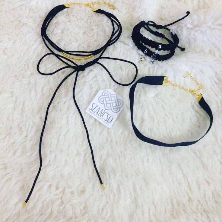 Handmade pair love Bracelets and black chockers