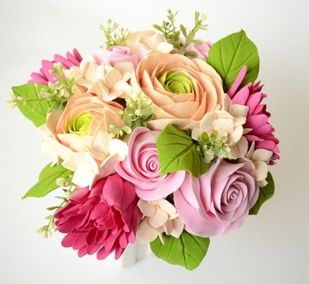Made To Order Bright and Vibrant Clay Floral Arrangement from SimplyByBex