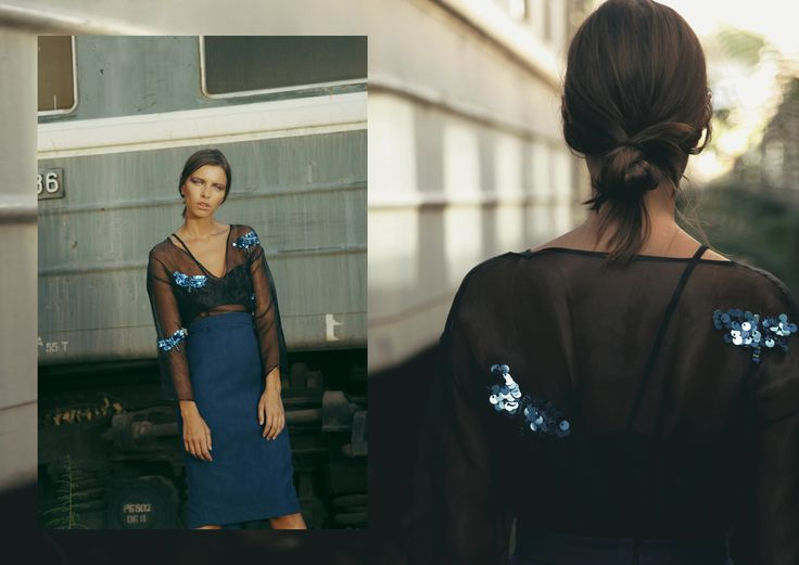 ANOUKI | Sheer black organza with hand-embroidered dragonflies and blue cotton dress.