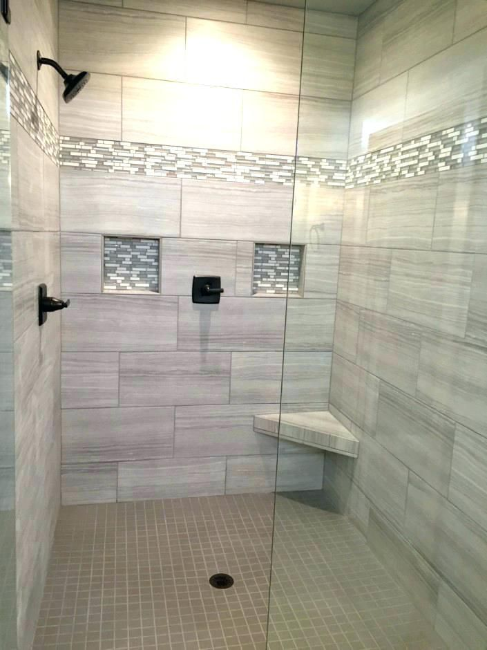 groutless tile shower floor walk in tiled ideas within