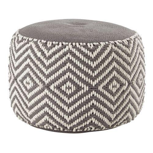 Sitzpuff WARM aus Baumwolle, grau/weiß