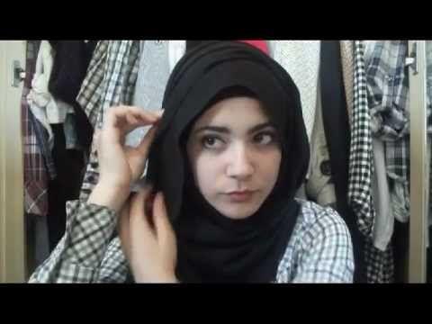 Hijab tutorial : flowy side hijab look - YouTube
