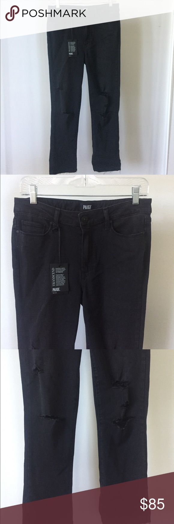 NWT PAIGE Jacqueline Straight Jeans Raw Hem NWT! Such a soft material. Carbon destructed raw hem. Retail $215, on sale for $150 online currently. PAIGE Jeans Straight Leg