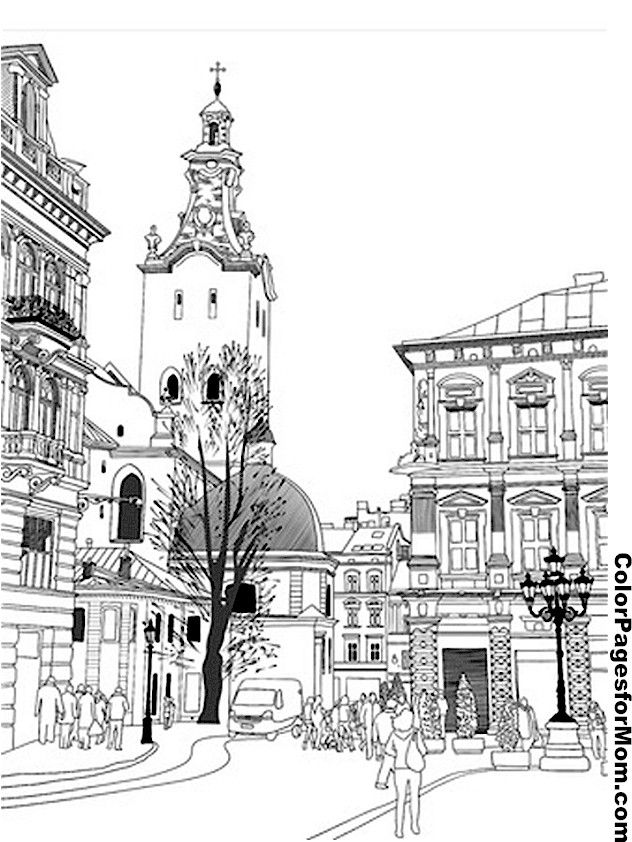"City Coloring Page 14 | free sample | Join fb grown-up coloring group: ""I Like to Color! How 'Bout You?"" https://m.facebook.com/groups/1639475759652439/?ref=ts&fref=ts"