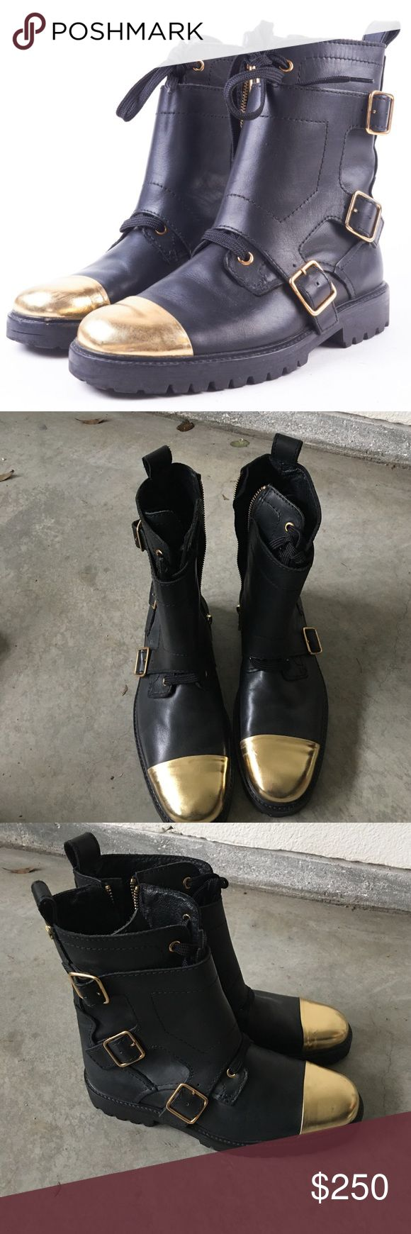 Zadig And Voltaire gold cap toe dore combat boots Zadig and Voltaire gold cap toe doré combat boots. Excellent condition, like new. Zadig & Voltaire Shoes Combat & Moto Boots
