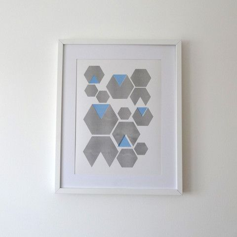 Hexagon Blue Print by Andy Murray Design