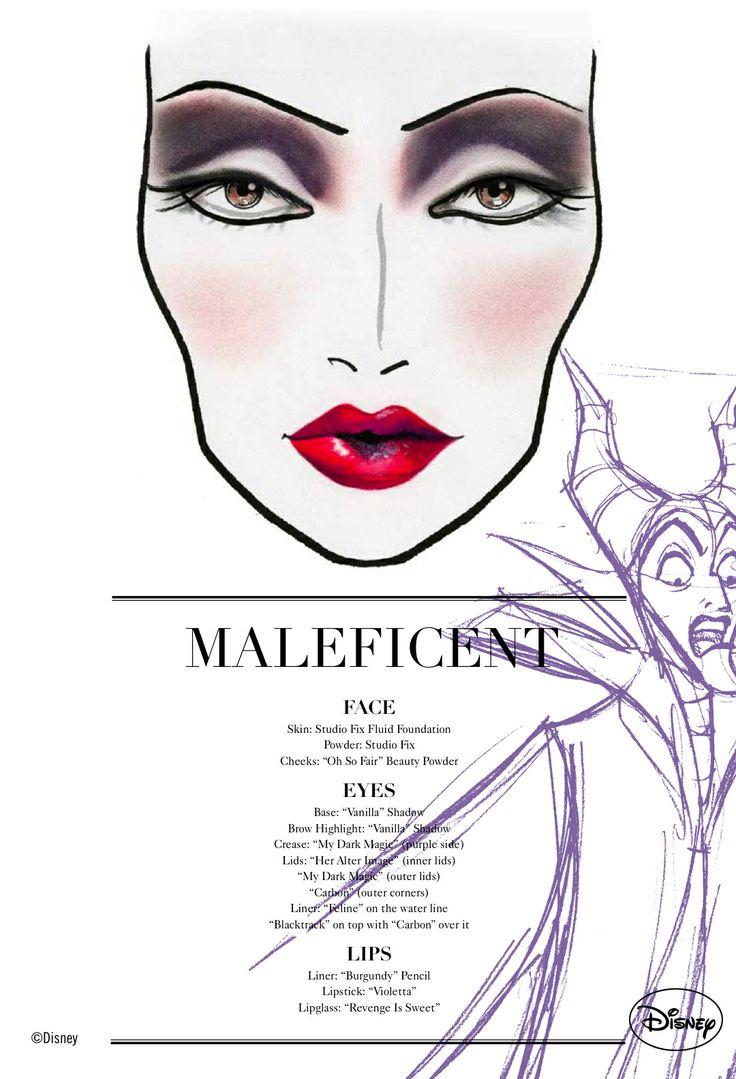 Maleficent Mac Cosmetics Face Chart #Makeup #Disney #SleepingBeauty #Villain